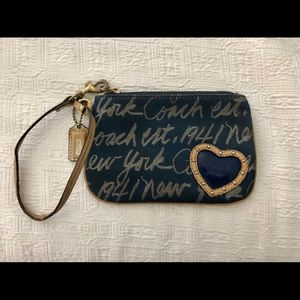 Coach blue and gold wristlet